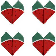 Lollipop Origami Napkin - Watermelon (610 ZAR) ❤ liked on Polyvore featuring home, kitchen & dining, table linens, red, red napkins, origami napkins and cotton napkins