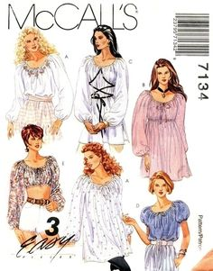 Peasant Blouse, Midriff Top or Chemise Sewing Pattern McCall's 7134 Sizes XSmall, Small, Medium Peasant Dress Patterns, Peasant Blouse, Peasant Dresses, Baby Dresses, Peasant Tops, Mccalls Sewing Patterns, Vintage Sewing Patterns, Clothing Patterns, Vintage Outfits