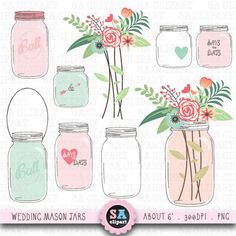 Mason jar Clipart WEDDING MASON JARclip art pack by SAClipArt, $5.00