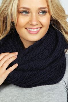 Kimberley Knitted Infinity Scarf in Navy.