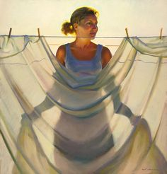 """I remember billowing fabrics being pinned out on the line to dry or """"air out"""". The lines and shadows can create a beautiful dance. This painting captures a great illustration of those moments. Jeffrey T Larson - Grace and Mercy"""