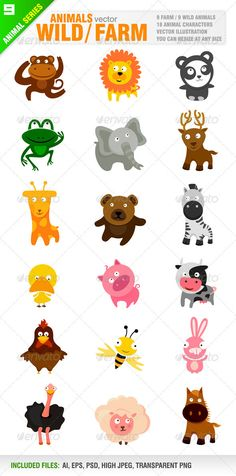 18 Cute Wild / Farm Animals  #GraphicRiver         Vector set of cartoon style cute animal characters.  	 9 Wild animal characters / 9 Farm animal characters.  	 Monkey, lion, panda bear, frog, elephant, deer, giraffe, bear, zebra, duck, pig, cow, chicken, bee, rabbit, ostrich, horse, sheep.  	 Ai, eps, psd, high jpeg and transparent png files included in the zip file.  	 Each symbol included in different layer for ai, eps and psd documents.  	 You can see other cartoon