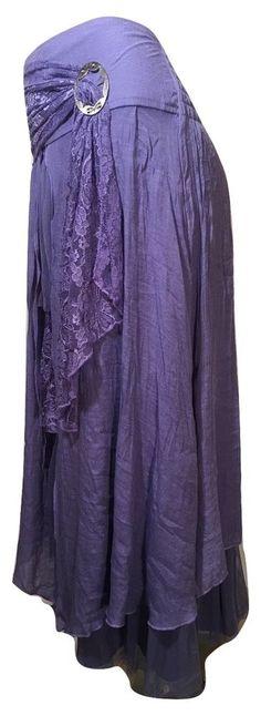 Pretty Angel Size XL Light Purple Boho Skirt Lined Ruffles Antique Buckle 27114  #PrettyAngel #PeasantBoho