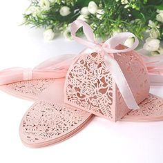 Hollow Rose Flower Lace Ribbon Wedding Favor Sweets Candy Boxes Gifts Lace and Ribbon Decor Sugared Almonds Wedding Favours, Almond Wedding Favours, Wedding Favour Sweets, Summer Wedding Favors, Wedding Favor Boxes, Wedding Bows, Spring Wedding, Wedding Dress, Christmas Favors