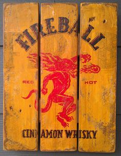 Fireball Whiskey, Vintage-looking pallet wood sign, hand made, hand painted, man cave or bar on Etsy, $52.00