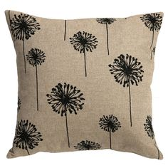 One decorative throw pillow cover in black dandelion print on a rustic woven beige background, or choose from 3 other coordinates. This is one of our favorite fabrics, it is a heavy weight upholstery fabric with a gorgeous texture. Invisible YKK zipper closure, cream-colored. Same fabric is used on the front and back. ~>In our shop, Choose the size cover that exactly matches your pillow dimensions. For example, if your pillow measures 18x18 inches choose the 18x18 inch option. Pillow cove...