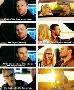 #Arrow #3x23 #OliverQueen #FelicitySmoak | His dream came true. | And after 8 years of hell, struggle and outright misery he can FINALLY catch a break. I'm not crying, you are. Happy tears. | Sunsets & porsches.