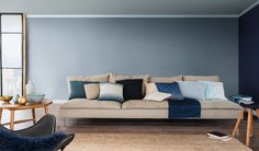 Denim drift themed #livingroom with scatter cushions