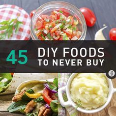 DIY: 45 Healthy Foods to Make and Never Buy Again Put down the pre-packaged eats! Good, healthy food doesn't have to cost an arm and a leg. Make it from scratch to save a ton of dough (pun intended). Healthy Foods To Make, Healthy Cooking, Food To Make, Healthy Snacks, Healthy Eating, Healthy Recipes, Real Food Recipes, Cooking Recipes, Cooking Game