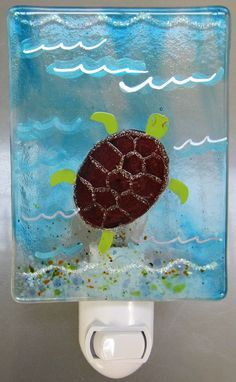 Handmade fused glass nightlight- Danielle's Sea Creatures Collection of Fish, Turtles & Dolphins Glass Lights, Drop Lights, Yard Lighting, Cool Lighting, Nite Light, Glass Fusion Ideas, Glass Fusing Projects, Nightlights, Glass Design