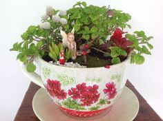 Fairy garden in a giant teacup