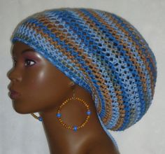 cc1d48e6a54e Cotton Crochet Tam Hat Cap with Drawstring and by RazondaLee Puffy Hair