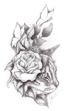 Grey Flower And Cat Tattoo Design and information related to it.