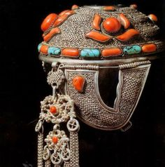 Headdress, silver and set coral and turquoise. Late 19th, from the Khalka community in Mongolia.