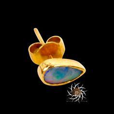 18k Studs  Gold Studs  Opal Studs  Tiny Studs  Small by RONIBIZA