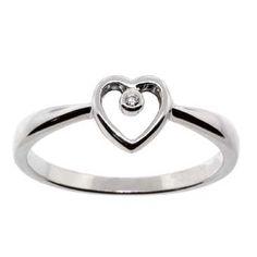 Ben Bridge Open Heart Diamond Ring 14K white gold