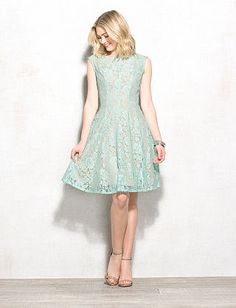 Petite Mint Lace Fit-and-Flare Dress
