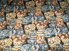 """Cat Kitty Cats Fabric 6 Yards 45"""" W Cotton Craft Material Novelty Sewing #CatFabric #KittyMaterial"""