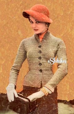 PDF Knit Pattern only. Available via instant download after purchase.    Vintage 1953 knitting pattern called the Combination Suit for jacket and skirt. Size: 12 ,14, 16, 18  Bust: 35 ½, 37 ½, 39 ½, 41 ½ inches    Materials required:  Yarn *Bernat Cordette (1 ounce skein), Main Color: 17 (19, 21, 23) skeins, Color A: 4 (4, 5, 5) skeins  *Bernat Sparkelaine (1 ounce skein), Color C: 6 (7, 7, 7) skeins  Knitting needles - regular and circular, size 2US  Steel crochet hook, no. 4  5 buttons  ½…