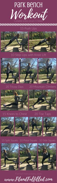 15 Minute Park Bench Workout - Fit and Fulfilled. A quick, full-body, no equipment workout! All you need is a park bench (or sturdy chair). Do this bodyweight workout during a jog for some resistance training or as a fun, effective workout for busy moms w Fit Board Workouts, Fun Workouts, At Home Workouts, Fitness Workouts, Workout Ideas, Gym Fitness, Home Exercise Routines, Exercise For Kids, Kids Workout