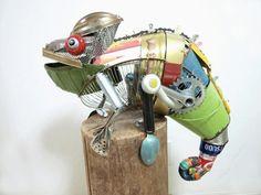 kunst aus schrott Natsumi Tomita tiere chamäleon
