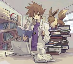 Professor Gary Oak walking in his grandfather's footsteps? With Eevee