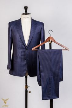 Wool Silk Bright Navy Plum Stripe 5 16 inch super 160's suit hand tailored (4).jpg