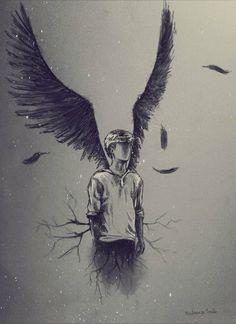 angel, drawing, and art image Pencil Art Drawings, Cool Drawings, Drawing Sketches, Dark Drawings, Newt Maze Runner, Maze Runner Series, Angel Drawing, Drawing Rain, Deep Drawing