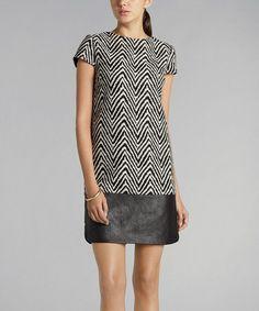 Black & White Faux Leather Herringbone Shift Dress More