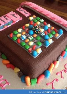 For my daughter.  Lol Candy Crush cake