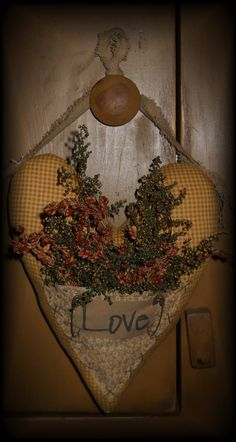 Country Primitive Heart Hanger by RustyThimble on Etsy, $15.99