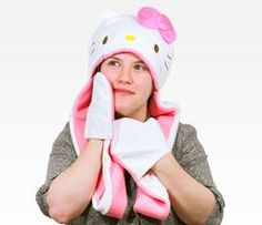 Hello Kitty Adult Scarf Hat: Face