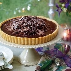 Chocolate espresso truffle tart is a grown-up way to end a meal. www.goodhousekeeping.co.uk