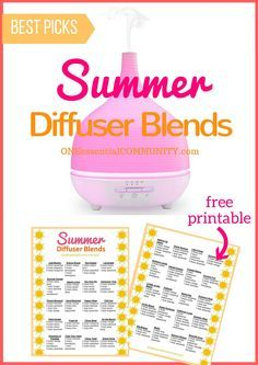 Best Summer Esssential Oil Diffuser Blends with FREE PRINTABLE-- recipes that smell like the beach, lemonade, a summer hike, time at the… Essential Oil Diffuser Blends, Doterra Essential Oils, Sent Bon, Diffuser Recipes, Doterra Oils, Living Oils, Free Printable, Cards, Mojito