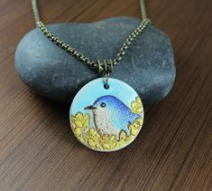 Rustic Romantic  Blue Bird  pendant necklace by KLFStudio on Etsy