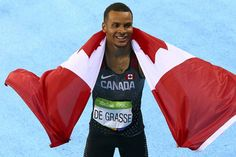 Andre De Grasse of Canada celebrates after winning bronze in the 100-metre finals at the 2016 Rio Olympic Games.