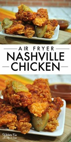 I'm obsessed with this Nashville Chicken in the Air Fryer. The flavor is incredible and the best part is that it's cooked so quickly in the air fryer. ** CLICK PIN TO LEARN MORE! Air Fryer Recipes Wings, Air Fryer Oven Recipes, Air Fry Recipes, Air Fryer Dinner Recipes, Cooking Recipes, Air Fryer Chicken Recipes, Cooking Icon, Cooking Pork, Cooking Tips