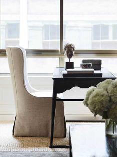 Signature Address by Thomas Hamel & Associates on Desk In Living Room, Dining Rooms, Custom Lamp Shades, Amber Interiors, Room Interior Design, White Rooms, Living Room Inspiration, Soft Furnishings, Living Room Designs