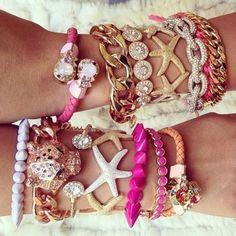 arm candy- Trendy jewelry designs http://www.justtrendygirls.com/trendy-jewelry-designs/