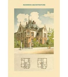 Family House in Basel, Basle - Switzerland by Kelterborn - Art Print - Postercrazed Plans Architecture, Architecture Design, Victorian Architecture, Vintage House Plans, Antique House, Sims House, Painting Prints, Art Print, Historic Homes