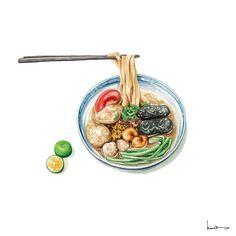 Cute Food Art, Food Sketch, Food Cartoon, Watercolor Food, Food Painting, Food Wallpaper, Food Icons, Vietnamese Recipes, Vietnamese Food
