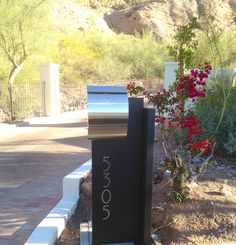 Contemporary Stainless Steel Mailbox with LED Address Plaque www.mailboxmd.com