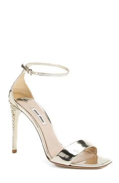 Miu+Miu+Metallic+Ankle+Strap+Sandal+(Women)+available+at+#Nordstrom