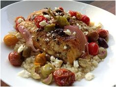 Roasted Greek Chicken with Roasted Onions, Cherry Tomatoes, Olives & Feta over Lemony Pearl Couscous Little Lady, Big Appetite | Follow Food with Me