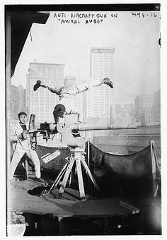 Frenchr sailor on anti-aircraft gun of the cruiser Admiral Aube, May 1917, NYC, ©  LOC