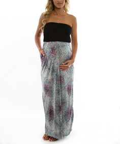Take a look at this Aqua & Black Strapless Maternity Maxi Dress by Expecting Style: Women's Maternity on #zulily today!