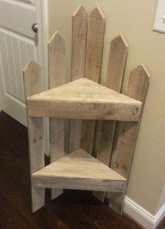 Pallet corner Shelf #PalletCorner, #PalletFurniture #palletfurnitureshelves
