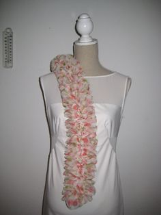 On Sales disc 50 Ruffle Scarf  Salmon Pink Green by MinnieCreation, €38.75