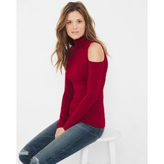 White House Black Market Mock Neck Cold-Shoulder Sweater ($52) ❤ liked on Polyvore featuring tops, sweaters, open shoulder tops, cold shoulder tops, open shoulder sweater, red velvet top and cut out shoulder sweater
