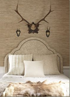 Thibaut{ A Feminine headboard in a mildly masculine room....love the contrast!!!
